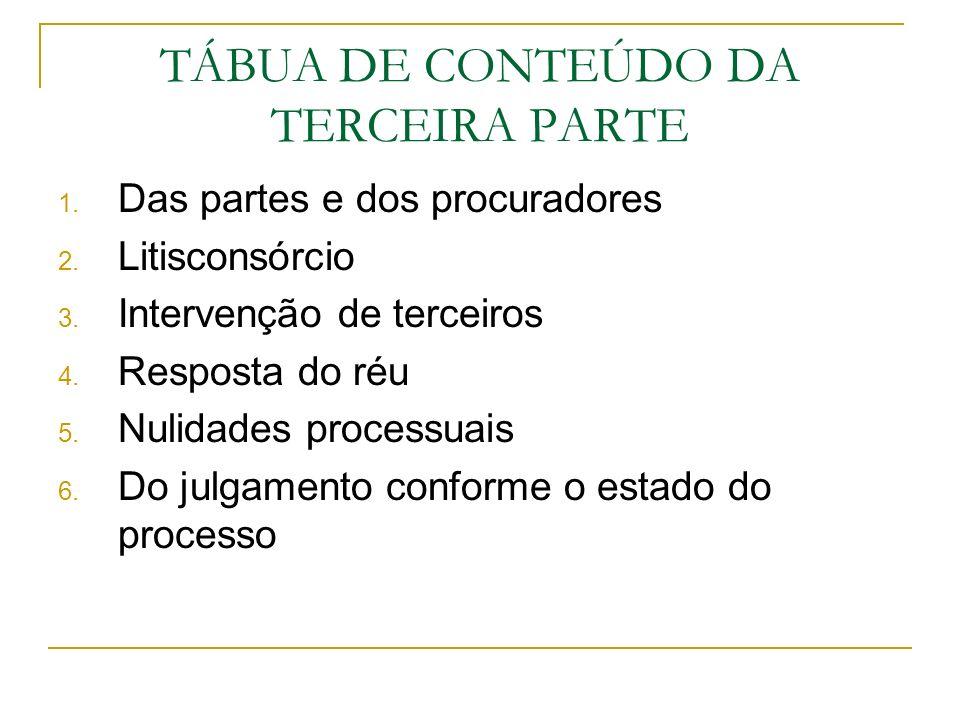 TÁBUA DE CONTEÚDO DA TERCEIRA PARTE