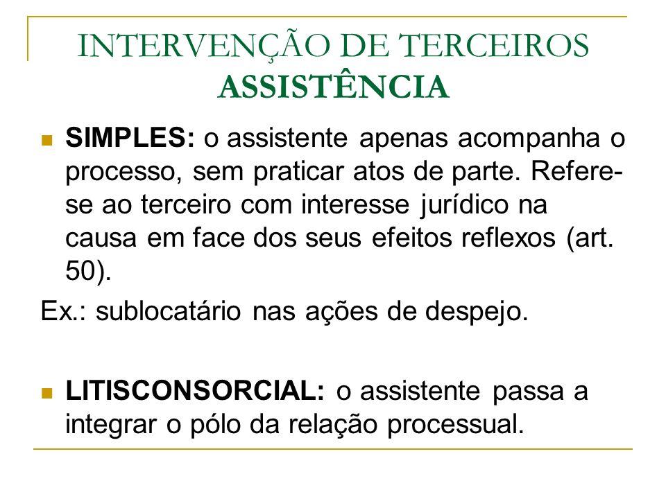 INTERVENÇÃO DE TERCEIROS ASSISTÊNCIA
