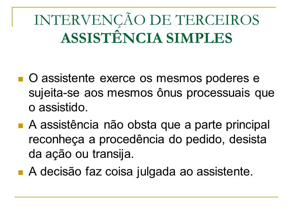 INTERVENÇÃO DE TERCEIROS ASSISTÊNCIA SIMPLES