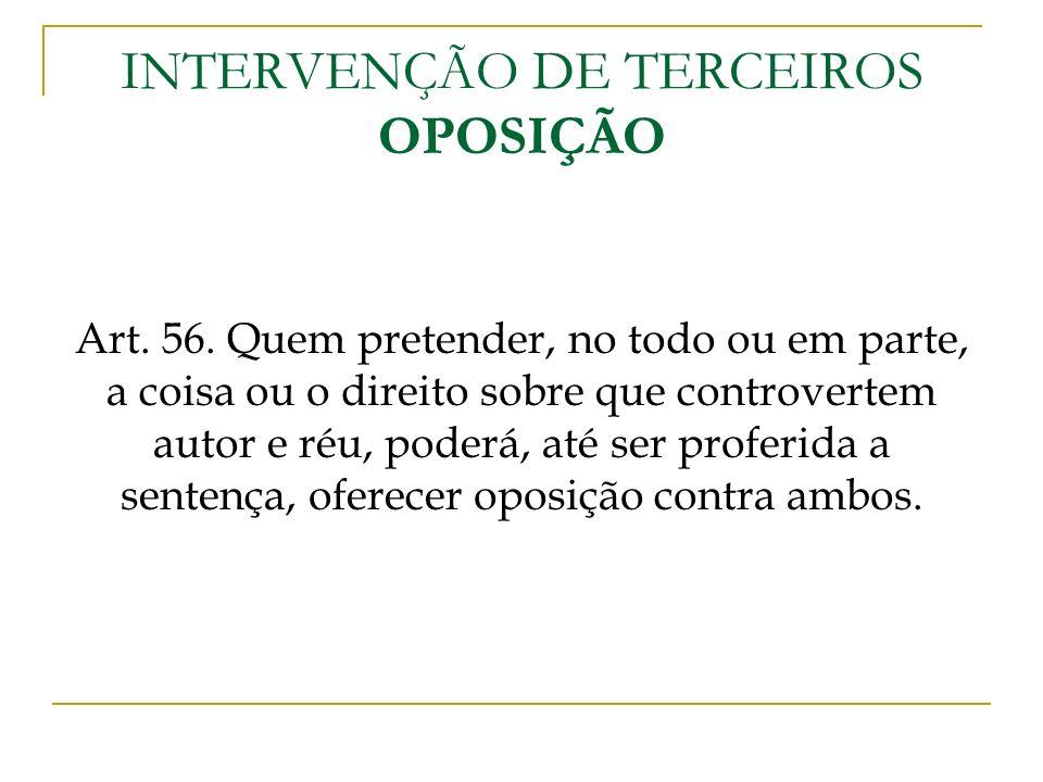 INTERVENÇÃO DE TERCEIROS OPOSIÇÃO