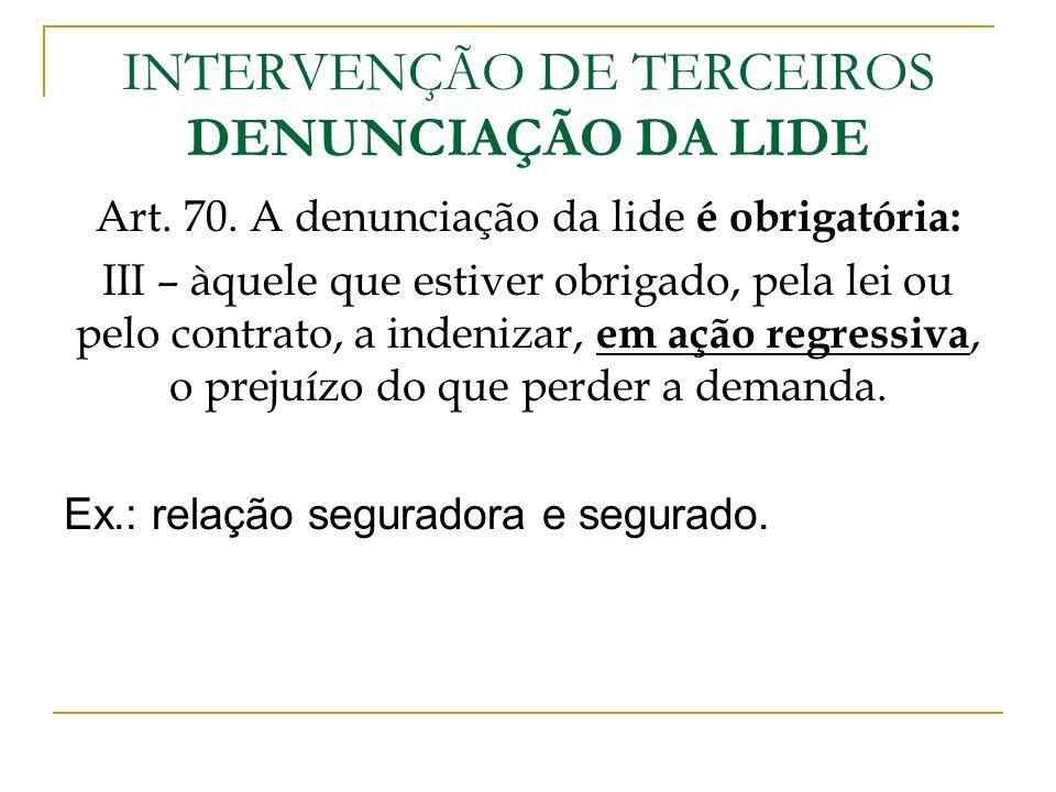 INTERVENÇÃO DE TERCEIROS DENUNCIAÇÃO DA LIDE