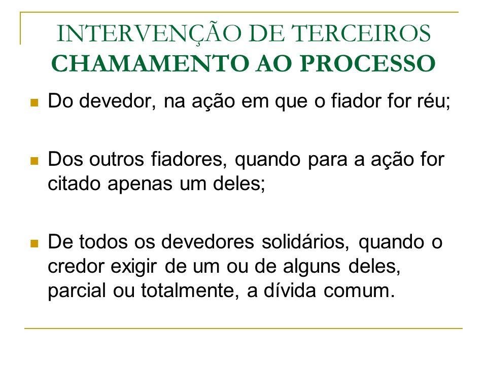 INTERVENÇÃO DE TERCEIROS CHAMAMENTO AO PROCESSO