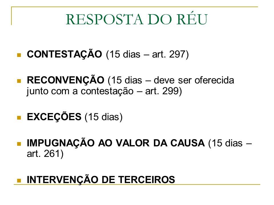 RESPOSTA DO RÉU CONTESTAÇÃO (15 dias – art. 297)