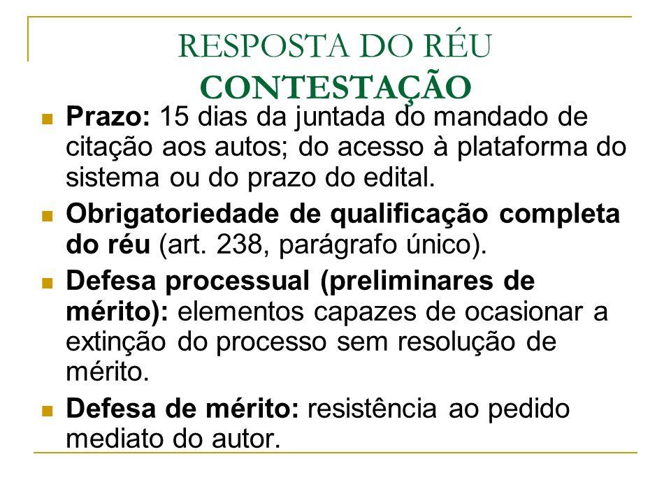 RESPOSTA DO RÉU CONTESTAÇÃO