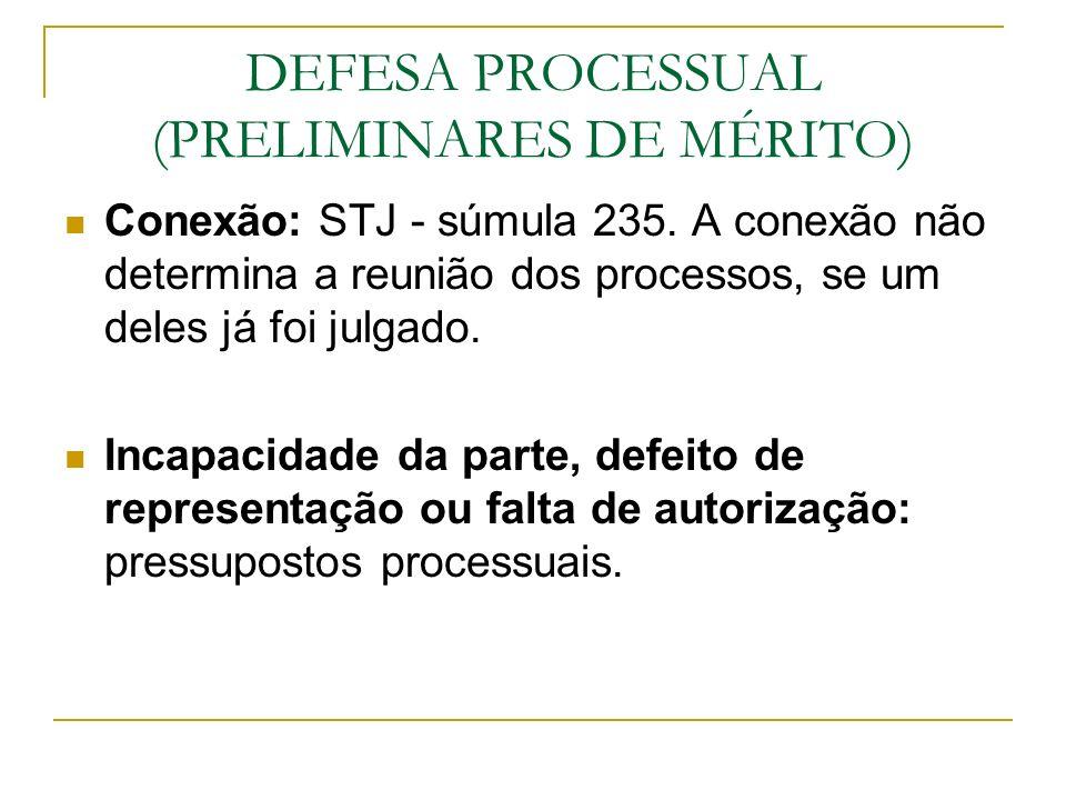 DEFESA PROCESSUAL (PRELIMINARES DE MÉRITO)
