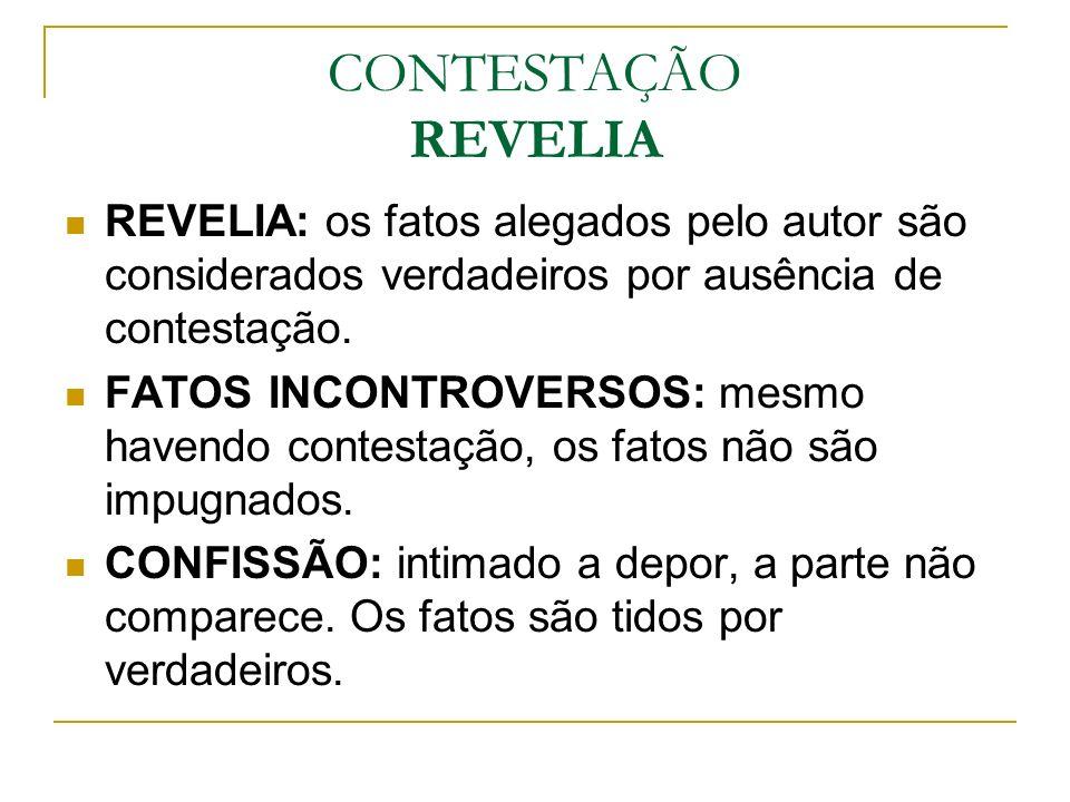 CONTESTAÇÃO REVELIA REVELIA: os fatos alegados pelo autor são considerados verdadeiros por ausência de contestação.