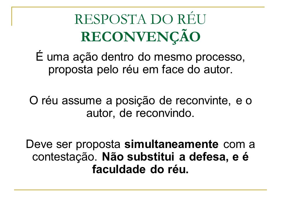 RESPOSTA DO RÉU RECONVENÇÃO