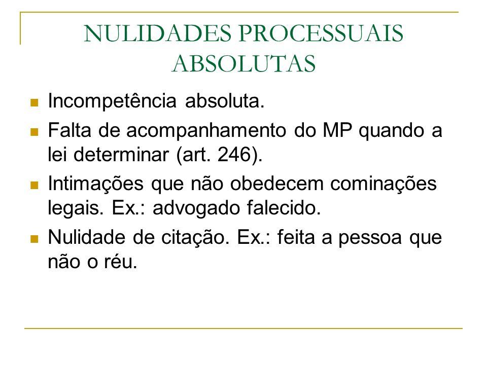 NULIDADES PROCESSUAIS ABSOLUTAS