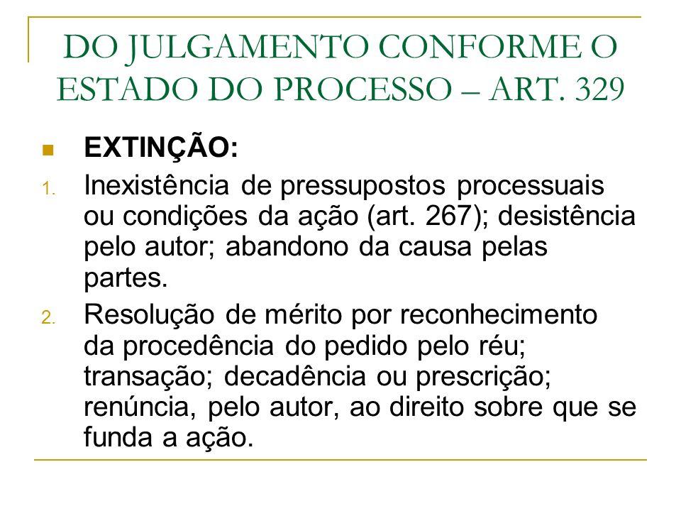DO JULGAMENTO CONFORME O ESTADO DO PROCESSO – ART. 329