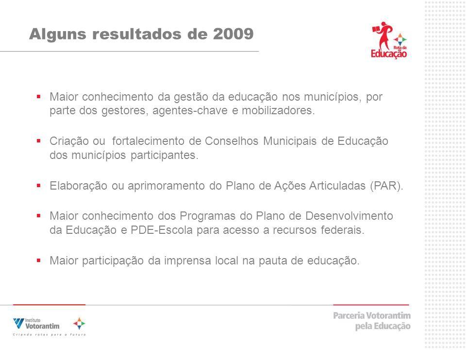 Alguns resultados de 2009Maior conhecimento da gestão da educação nos municípios, por parte dos gestores, agentes-chave e mobilizadores.