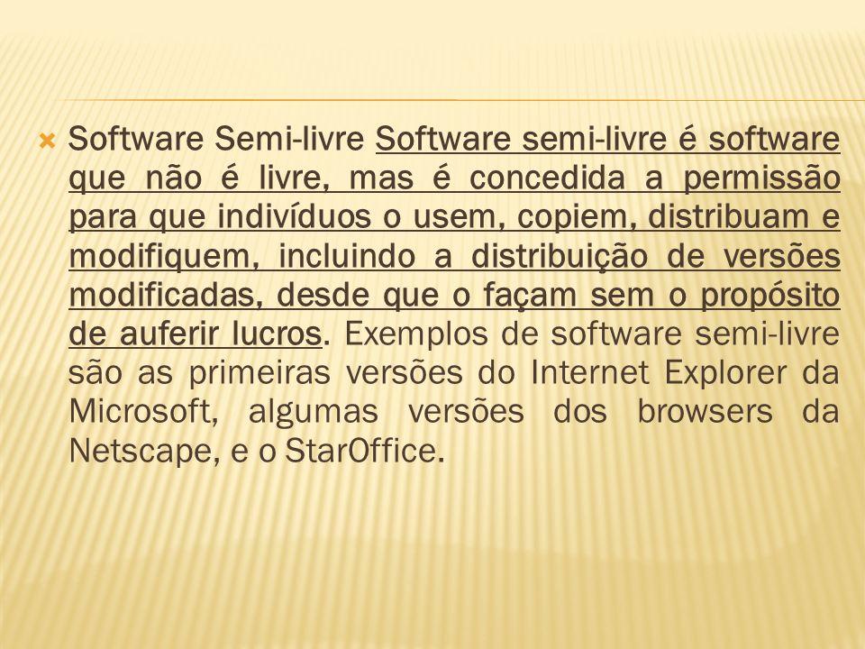 Software Semi-livre Software semi-livre é software que não é livre, mas é concedida a permissão para que indivíduos o usem, copiem, distribuam e modifiquem, incluindo a distribuição de versões modificadas, desde que o façam sem o propósito de auferir lucros.
