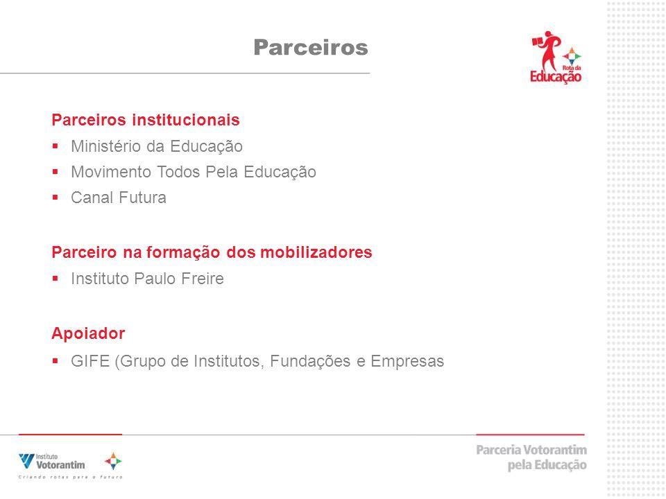 Parceiros Parceiros institucionais Ministério da Educação