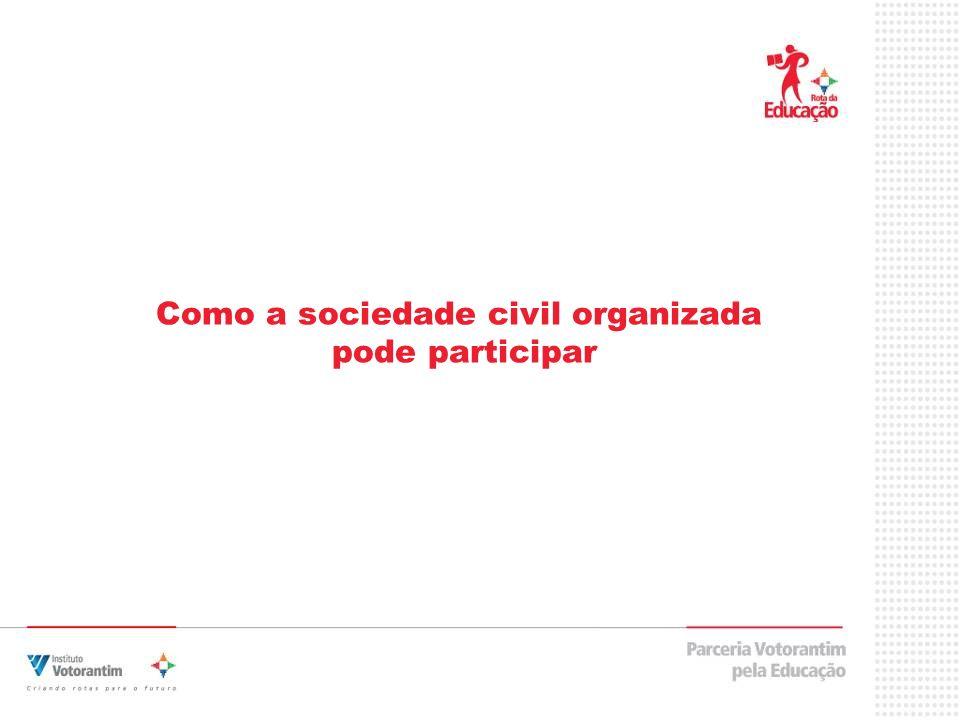 Como a sociedade civil organizada pode participar