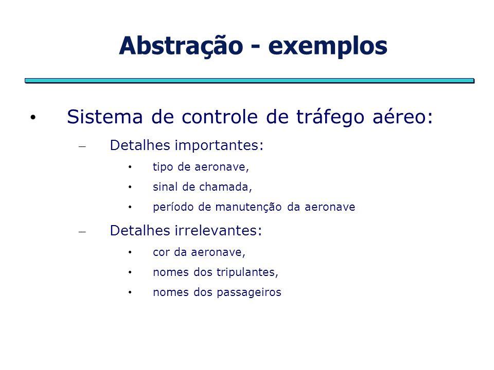 Abstração - exemplos Sistema de controle de tráfego aéreo: