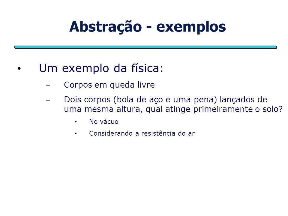 Abstração - exemplos Um exemplo da física: Corpos em queda livre