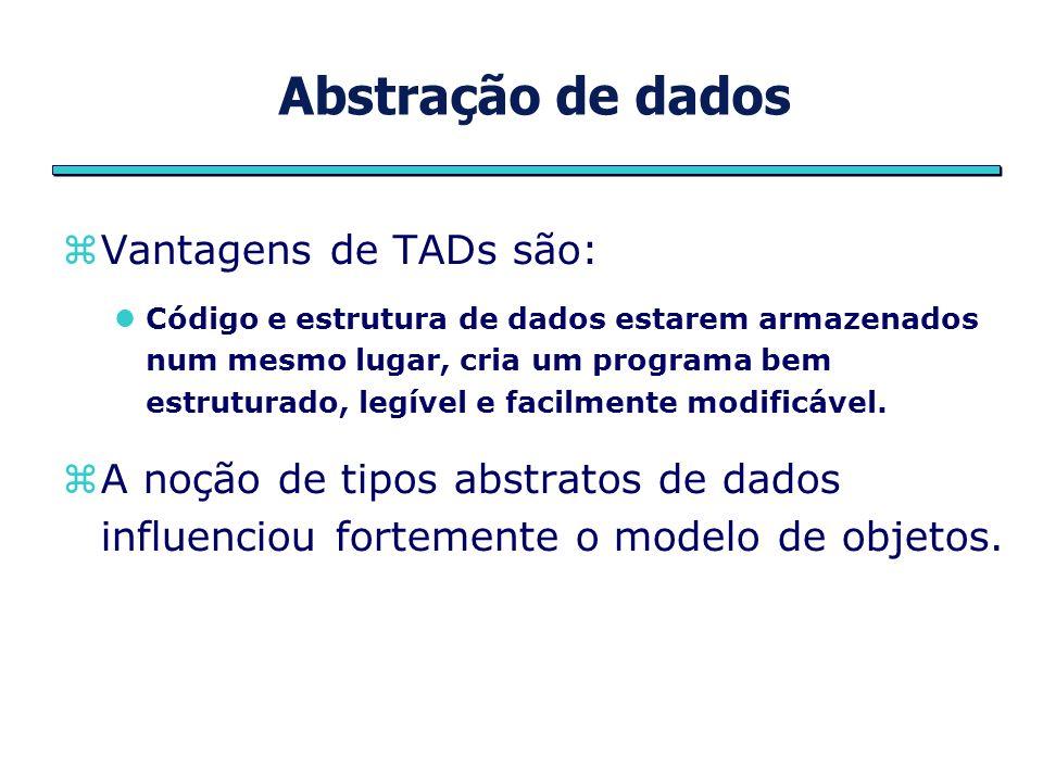 Abstração de dados Vantagens de TADs são: