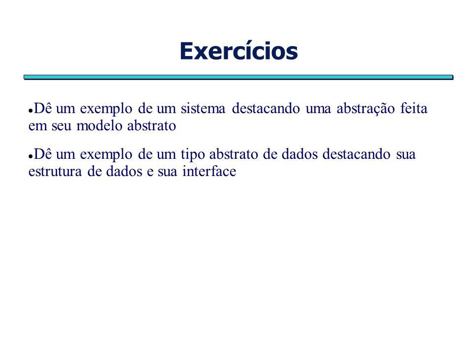 Exercícios Dê um exemplo de um sistema destacando uma abstração feita em seu modelo abstrato.