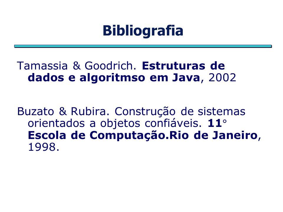 Bibliografia Tamassia & Goodrich. Estruturas de dados e algoritmso em Java, 2002.