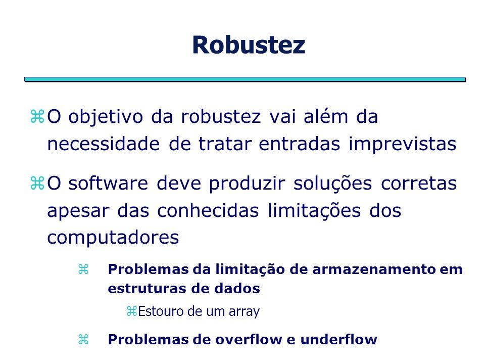 Robustez O objetivo da robustez vai além da necessidade de tratar entradas imprevistas.