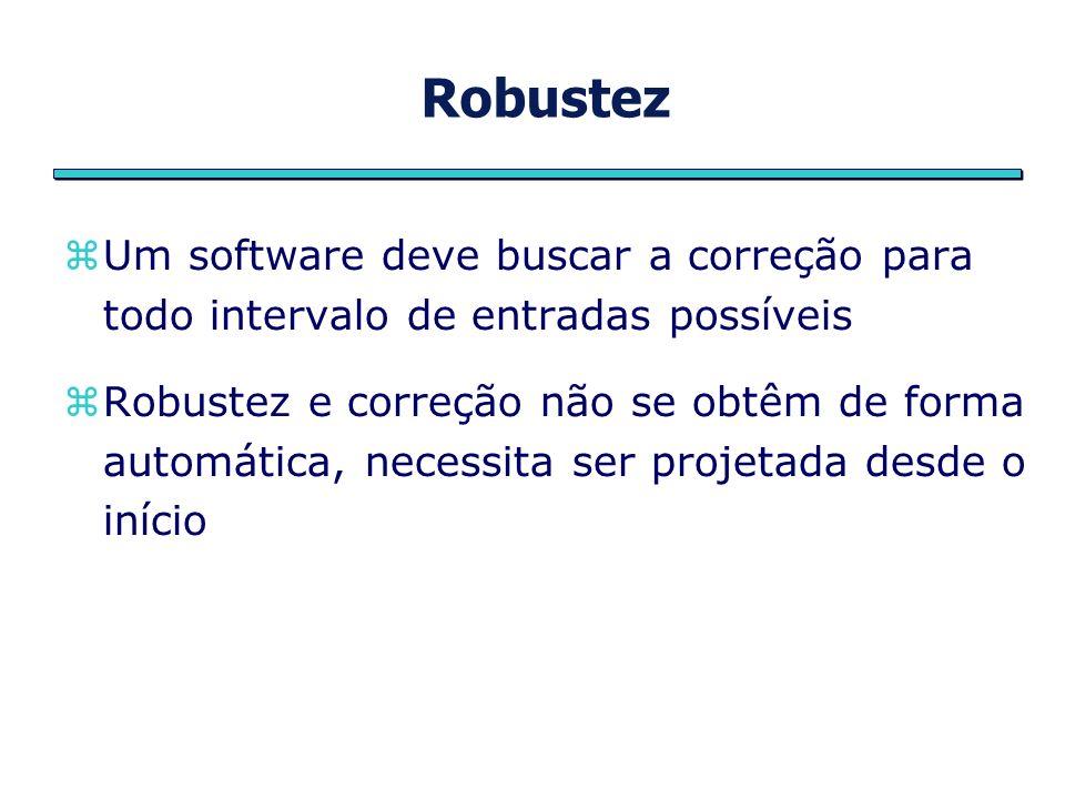 Robustez Um software deve buscar a correção para todo intervalo de entradas possíveis.