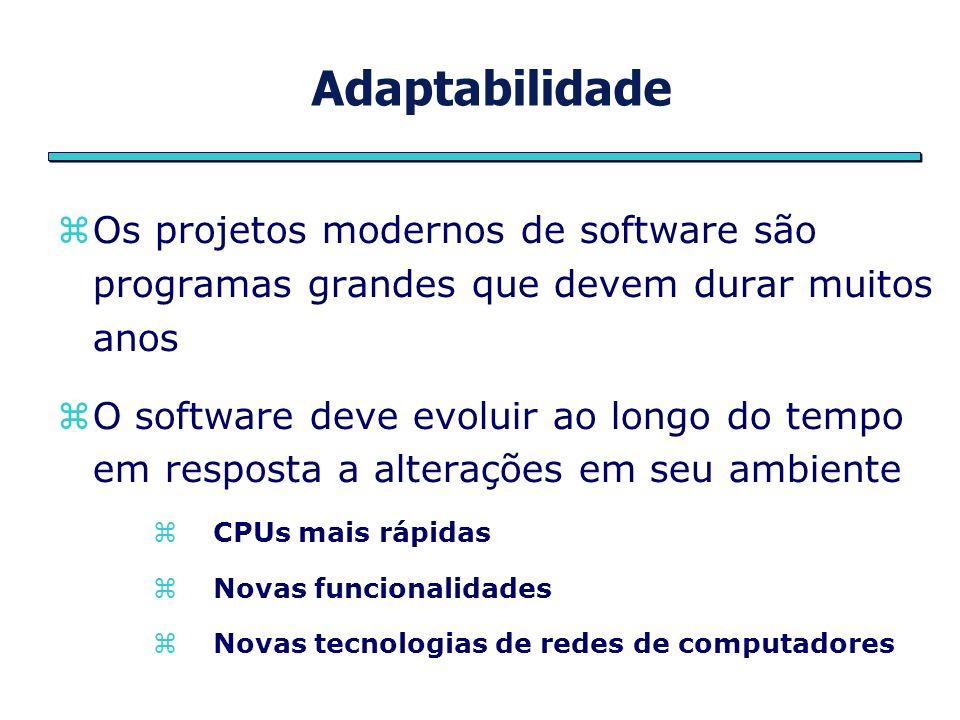 Adaptabilidade Os projetos modernos de software são programas grandes que devem durar muitos anos.