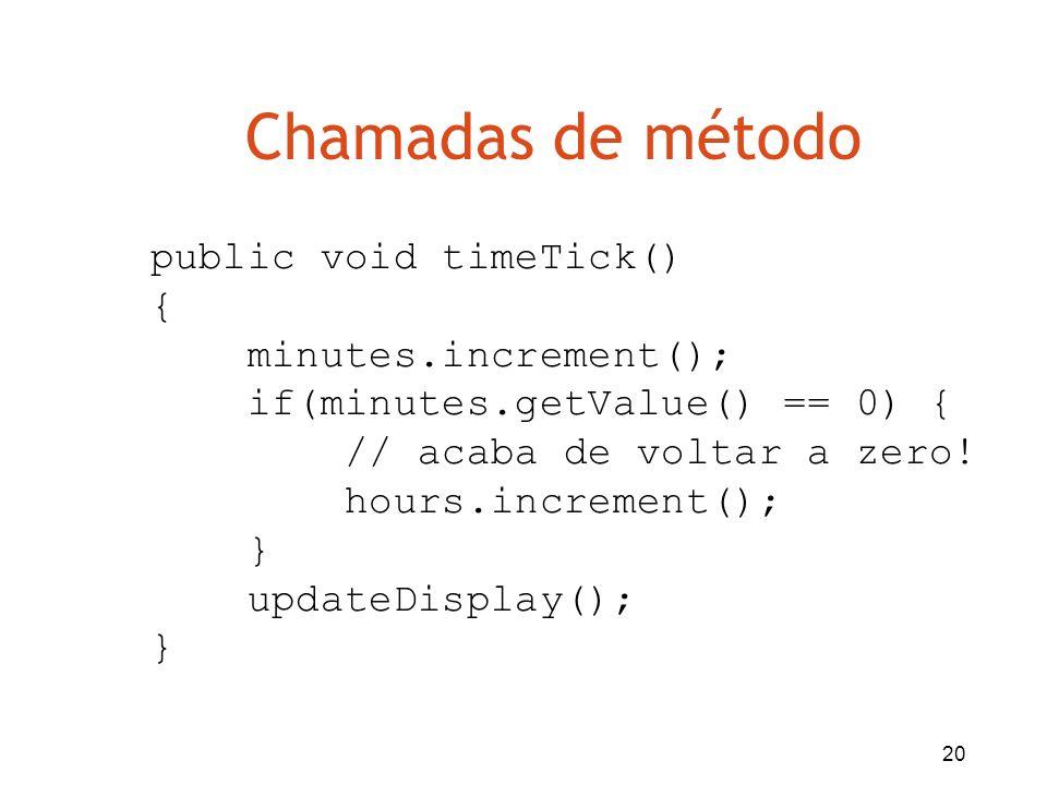 Chamadas de método public void timeTick() { minutes.increment();