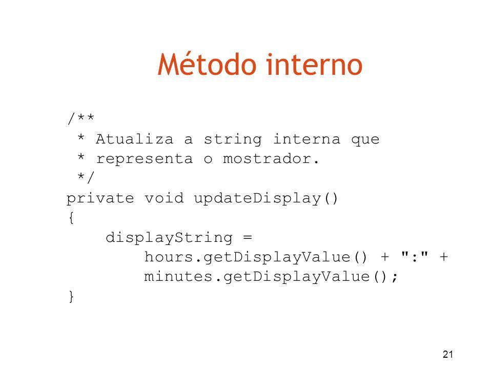 Método interno /** * Atualiza a string interna que