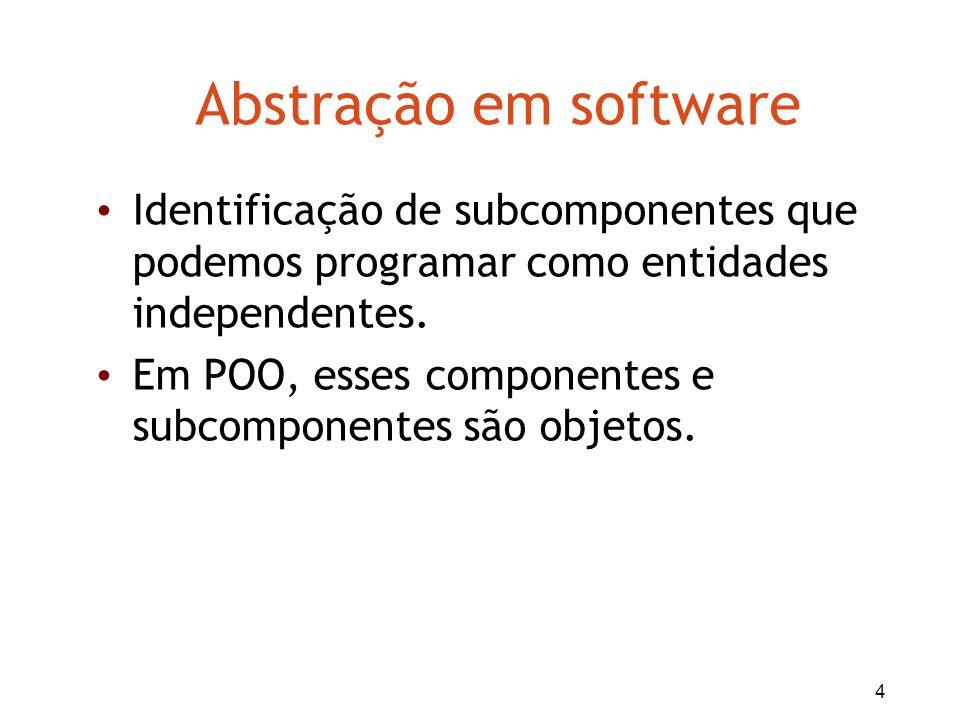 Abstração em softwareIdentificação de subcomponentes que podemos programar como entidades independentes.