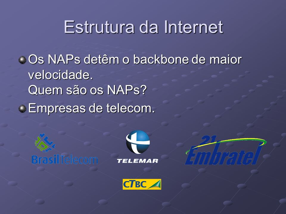 Estrutura da Internet Os NAPs detêm o backbone de maior velocidade.