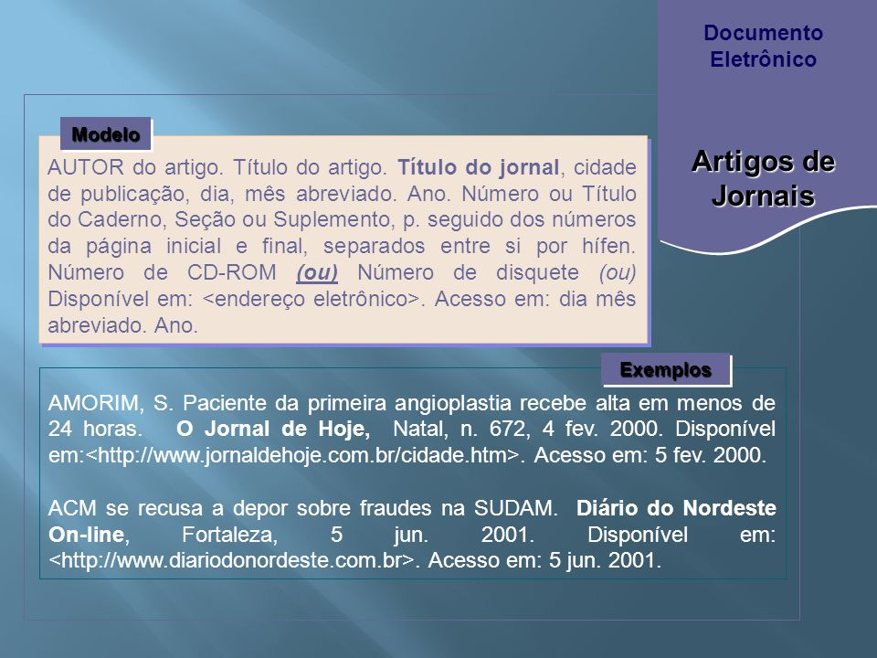 Artigos de Jornais Documento Eletrônico