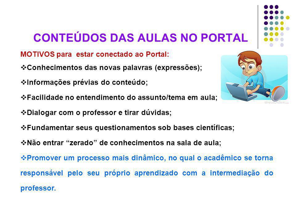 CONTEÚDOS DAS AULAS NO PORTAL