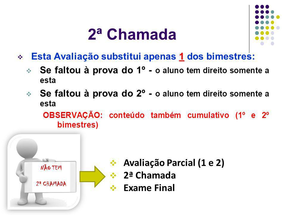 2ª Chamada Avaliação Parcial (1 e 2) 2ª Chamada Exame Final
