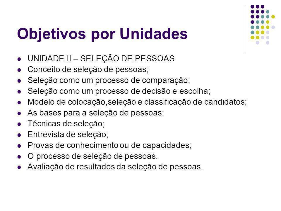 Objetivos por Unidades