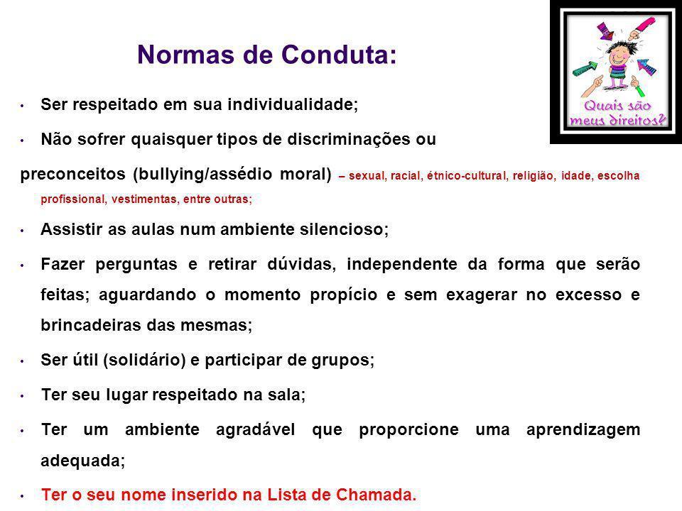 Normas de Conduta: Ser respeitado em sua individualidade;