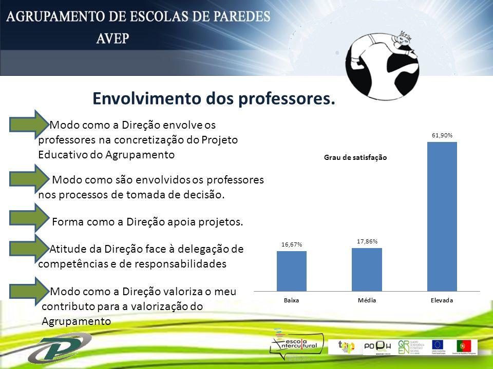 Envolvimento dos professores.