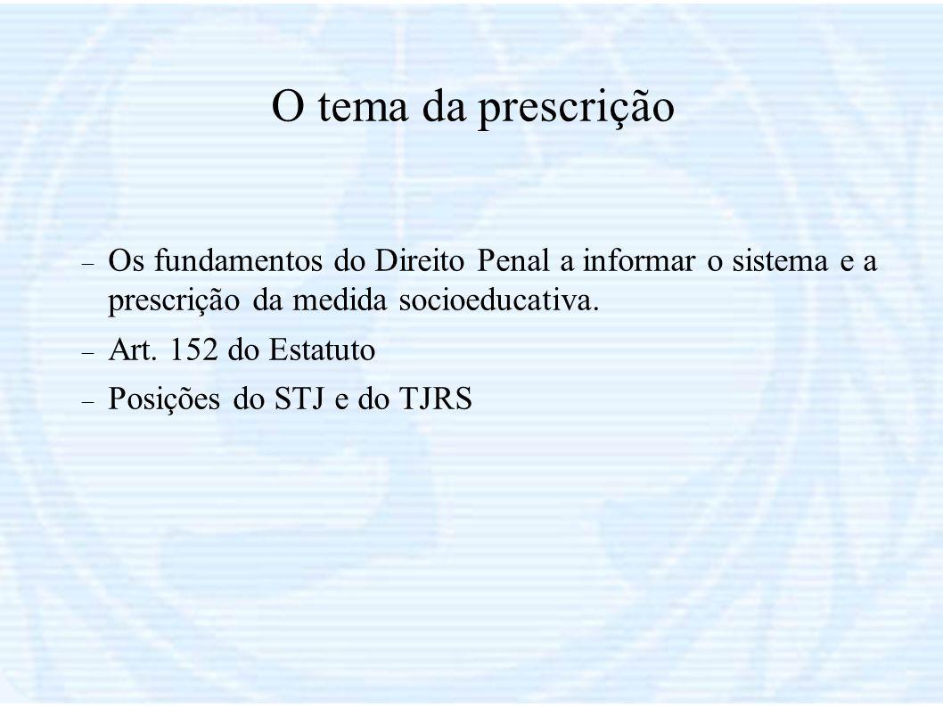 O tema da prescrição Os fundamentos do Direito Penal a informar o sistema e a prescrição da medida socioeducativa.