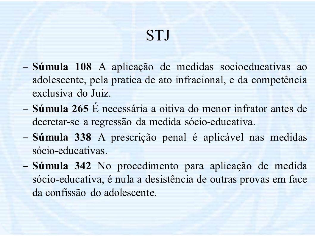 STJSúmula 108 A aplicação de medidas socioeducativas ao adolescente, pela pratica de ato infracional, e da competência exclusiva do Juiz.