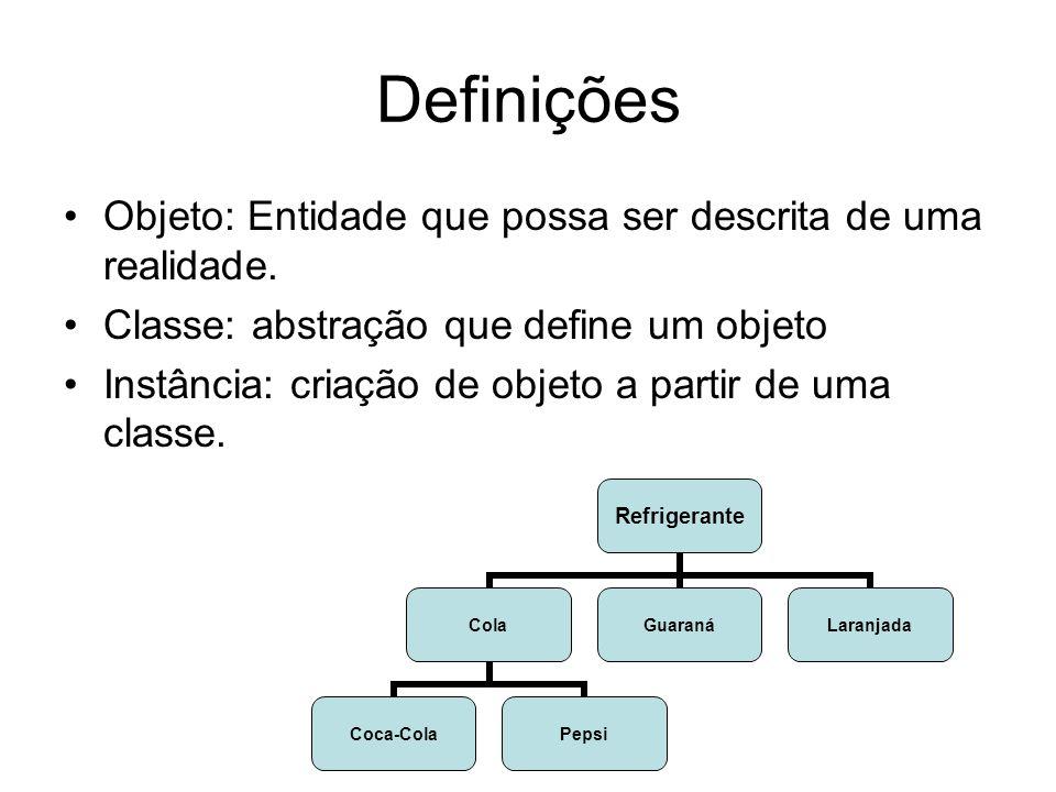 Definições Objeto: Entidade que possa ser descrita de uma realidade.