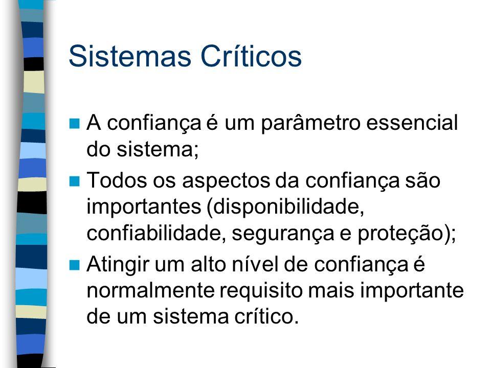 Sistemas Críticos A confiança é um parâmetro essencial do sistema;