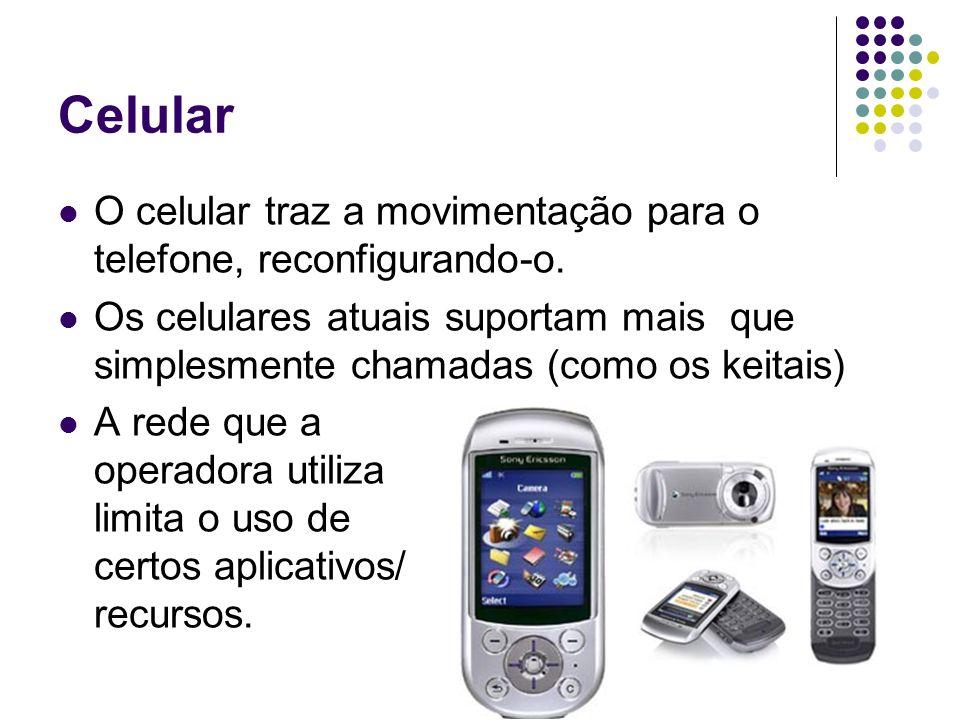 Celular O celular traz a movimentação para o telefone, reconfigurando-o.
