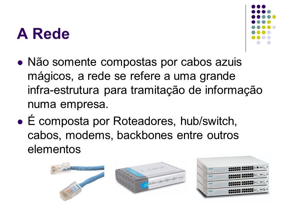 A RedeNão somente compostas por cabos azuis mágicos, a rede se refere a uma grande infra-estrutura para tramitação de informação numa empresa.