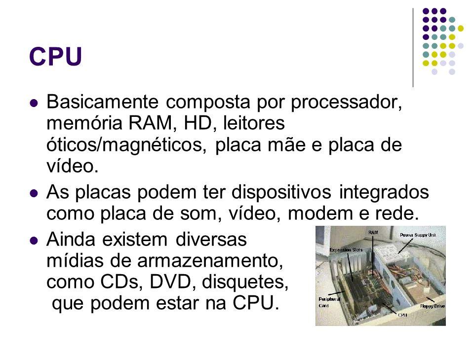 CPUBasicamente composta por processador, memória RAM, HD, leitores óticos/magnéticos, placa mãe e placa de vídeo.