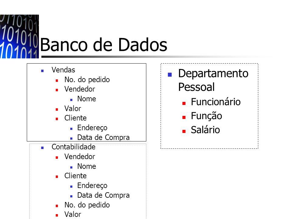 Banco de Dados Departamento Pessoal Funcionário Função Salário Vendas