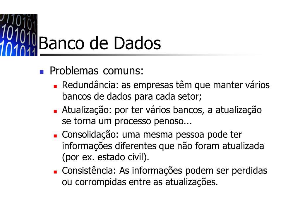 Banco de Dados Problemas comuns:
