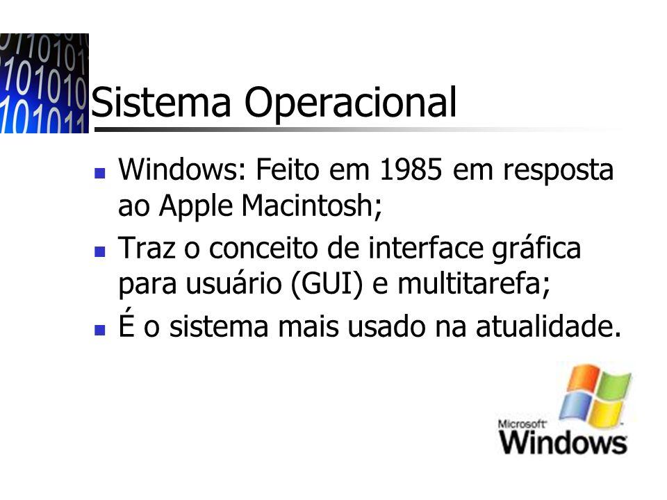 Sistema Operacional Windows: Feito em 1985 em resposta ao Apple Macintosh; Traz o conceito de interface gráfica para usuário (GUI) e multitarefa;