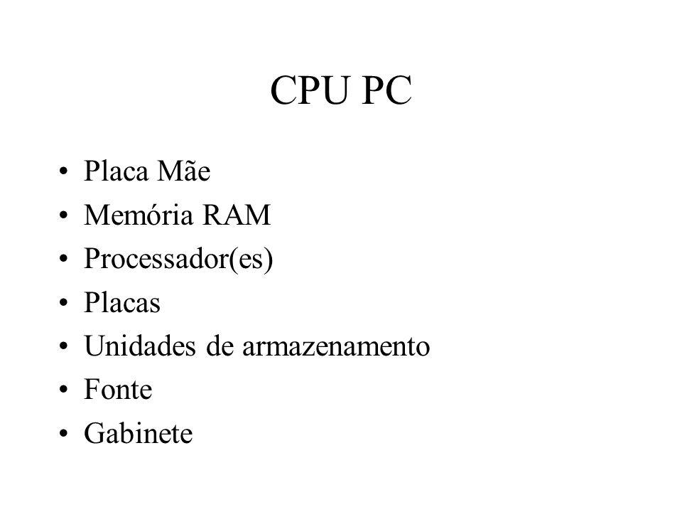 CPU PC Placa Mãe Memória RAM Processador(es) Placas