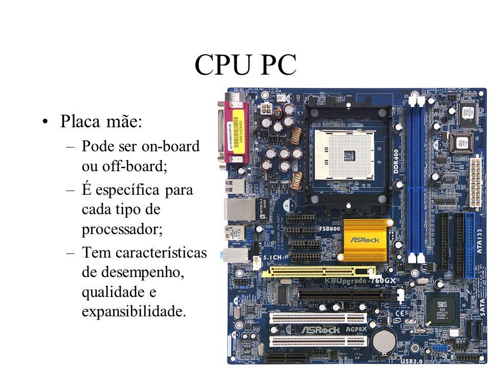 CPU PC Placa mãe: Pode ser on-board ou off-board;