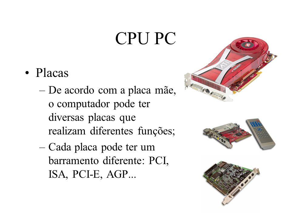 CPU PC Placas. De acordo com a placa mãe, o computador pode ter diversas placas que realizam diferentes funções;