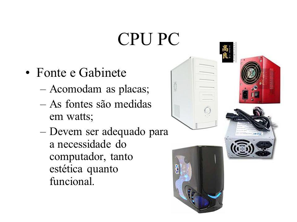 CPU PC Fonte e Gabinete Acomodam as placas;