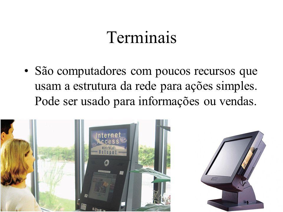 TerminaisSão computadores com poucos recursos que usam a estrutura da rede para ações simples.